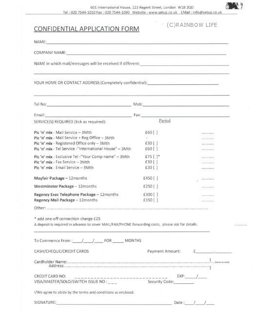 setup.co.ukで会社登記を頼むと、料金表のついたフォームがメールで送られてきます