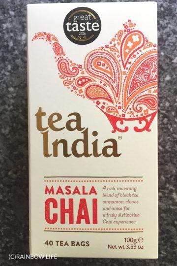イギリスのお土産といえば紅茶!スーパーでも買えるtea IndiaのMasala Chaiは、独特ののどごしとシナモンの香りが何ともクセになる、おすすめです。